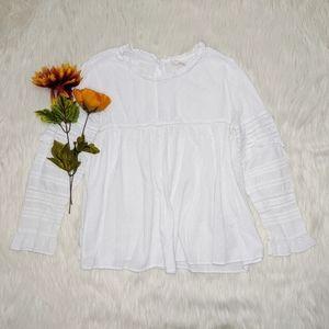 Zara Trafaluc White Ruffled Blouse Size S